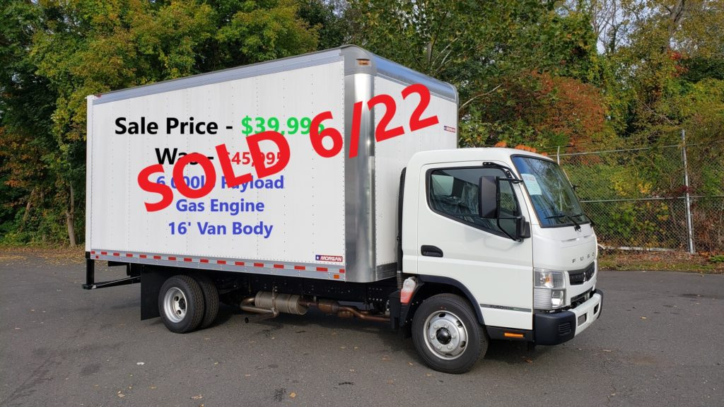 2019 Mitsubishi-Fuso FE140 gas engine with a 16' Morgan Van body, 14,500 GVW. Selling Price - WAS $45,995  NOW - $39,995